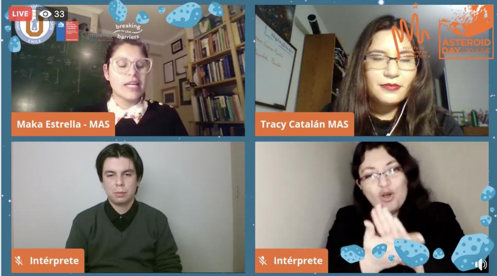 Captura de pantalla que muestra a las anfitrionas del día de la astronomía junto con dos intérpretes de lengua de señas chilena durante las transmisiones del Día del Asteroide 2020.