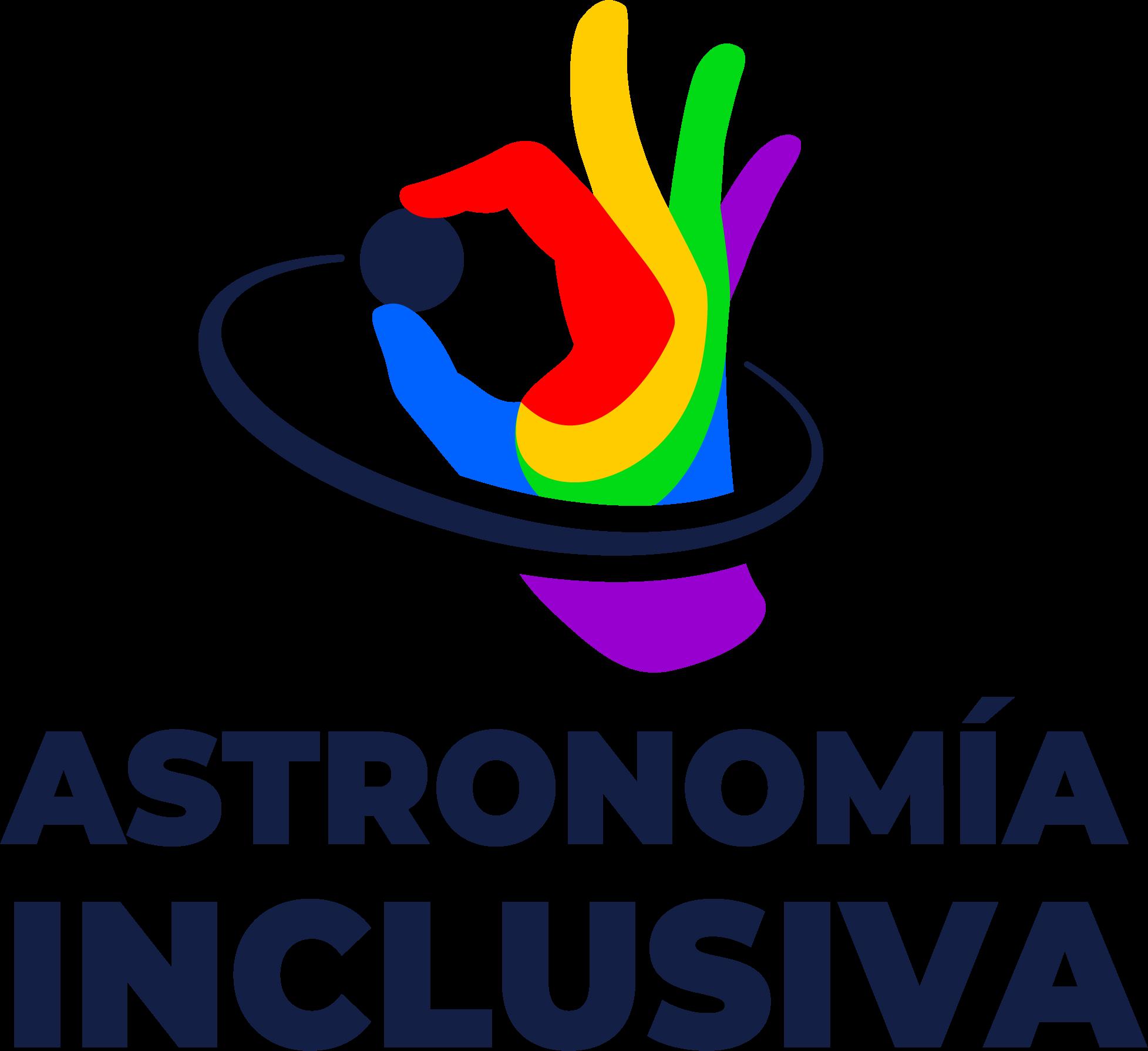 Logo del Grupo de Astronomía inclusiva. Es una mano multicolor, que con el pulgary el dedo índice parece estar tomando una esfera negra, la que tiene parece haber dejado una estela como anillo alrededor de esta mano que la toma.