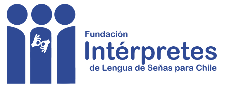 Logo Fundación intérpretes para Chile. En el logo se muestran tres personas, en la que la persona del medio tiene el símbolo de la lengua de señas, simbolizando el vínculo que éstas generan entre las otras dos personas.