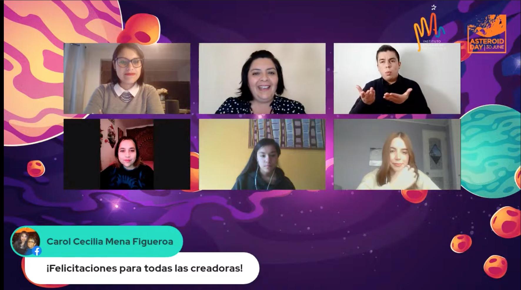 Pantallazo de las transmisiones del Día del Asteroide 2021. En la imagen se pueden ver 5 personas más el intérprete de lengua de señas chilena.